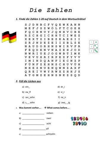 printable german numbers die zahlen german numbers worksheet by kimmccarney