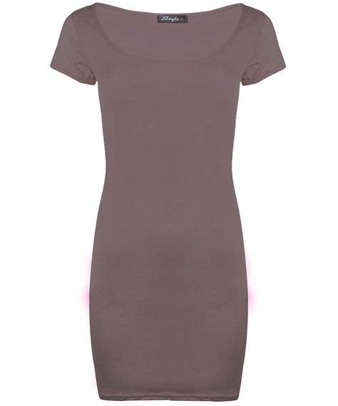 Rastera Plain Bodycon Mini Dress womens mini dress plain stretchy bodycon cap sleeve top plus size ebay