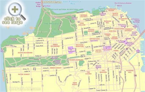 san francisco map to print san francisco maps top tourist attractions free