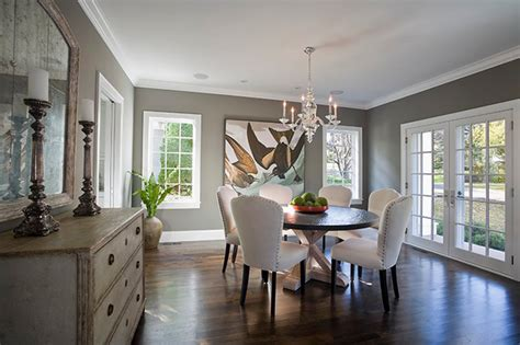 benjamin moore chelsea gray in a dining room with white cove ceilings best dark gray paint color edina cottage traditional dining room minneapolis
