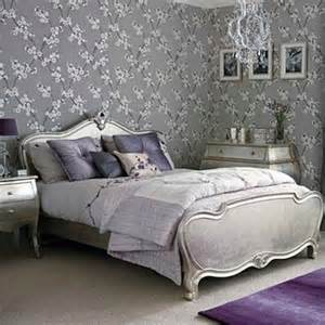 Purple And Grey Bedroom by Purple Lavender Bed Room Silver Leaf Bed Gray Linens Home