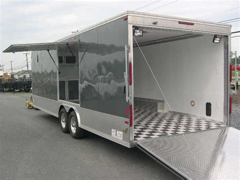 awning for enclosed trailer carmate 8 5 x 26 enclosed car trailer with awning door