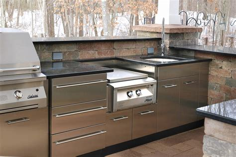 Stainless Outdoor Kitchen Cabinets | outdoor stainless kitchen in winter in ct danver
