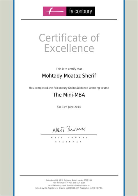 Institute Of Management Mini Mba Certification by Falconbury Mini Mba Certificate