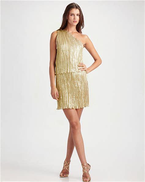 Behnaz Sarafpour Is The Next Designer For Targets Go International Line by Behnaz Sarafpour Pleated Metallic One Shoulder Dress