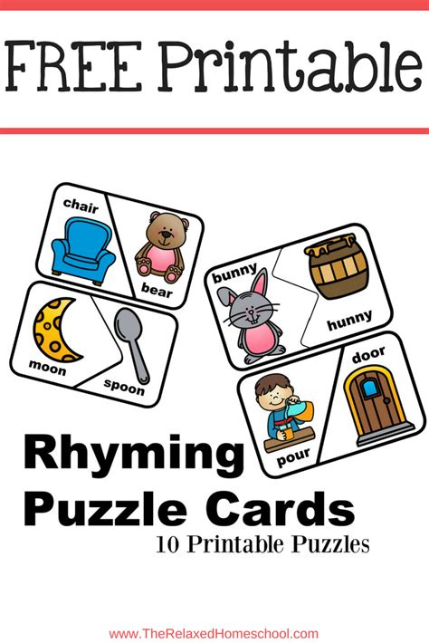 printable rhyming puzzles free rhyming puzzle cards the relaxed homeschool