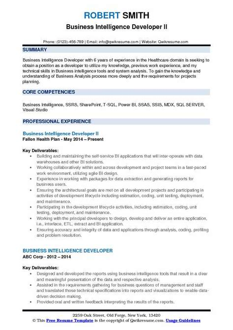 Senior Business Intelligence Developer Resume by Business Intelligence Developer Resume Sles Qwikresume