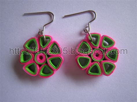 Paper Earrings - paper jewelry handmade quilling earrings flower open pe