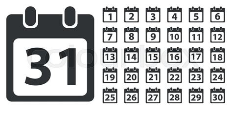 Day Number Calendar Calendar Day Icon Set Number On Calendar Page Monochrome
