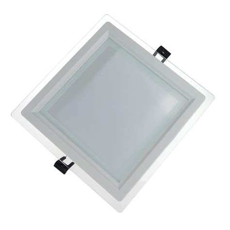 dimmable glass led panel light square 12w ceiling recessed