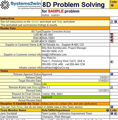 8d report 8d problem solving template