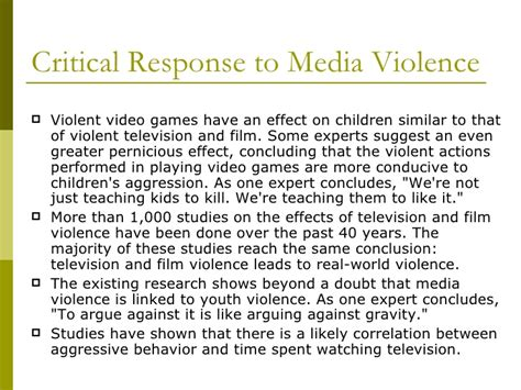 And Violence In The Media Essays by Media Violence