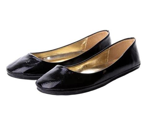 womens black patent flat dolly pumps shoes uk size 3 8