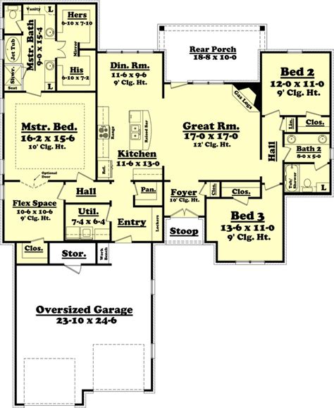 2000 square foot ranch house plans house plan 3 beds 2 baths 2000 sq ft plan 430 73