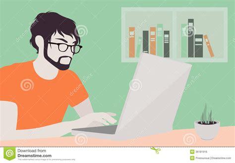 Online Free Room Designer handsome man with laptop illustration royalty free stock