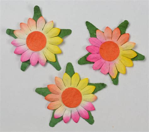 yellow and pink sunflowers flower pink yellow sunflowers 2cm mulbery paper flowers miniature