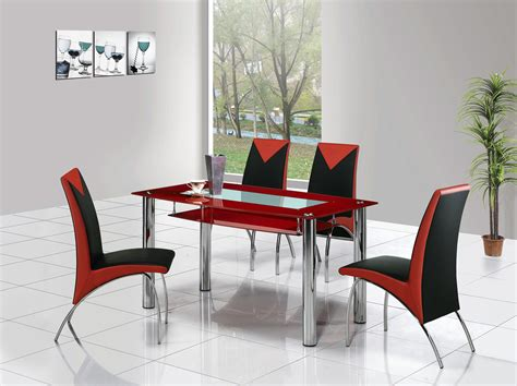 Red Dining Room Sets by Rimini Large Glass Dining Table Dining Table And Chairs