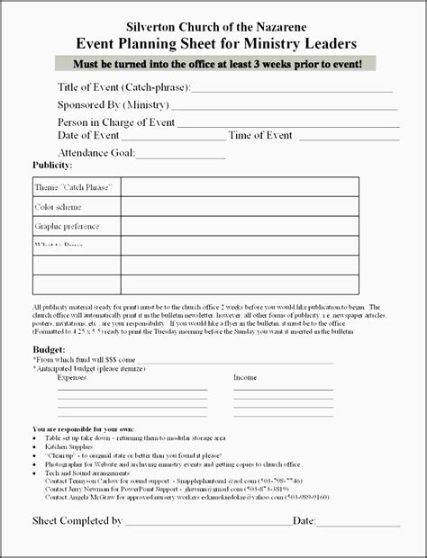 5 Church Event Planning Checklist Outline Sletemplatess Sletemplatess Church Event Planning Template