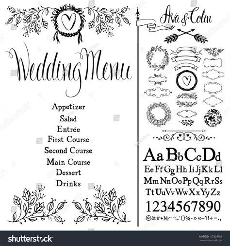 Wedding Font Set by Wedding Menu Flowers Font Set Design Stock Vector
