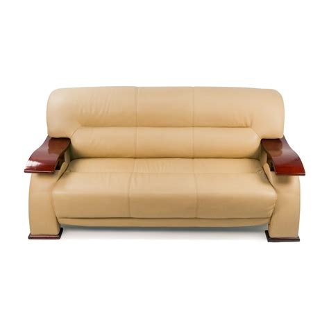 leather and wood sofa 84 off unknown brand contemporary beige leather sofa