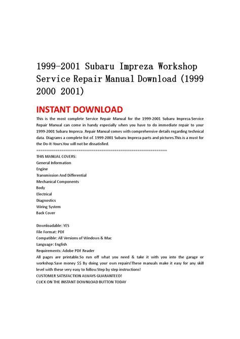 service manual 1999 2001 subaru impreza factory service repair manual 2000 downl free auto 1999 2001 subaru impreza workshop service repair manual download 1999 2000 2001 by ksefmme issuu