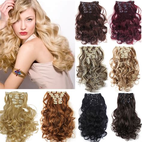 Hairclip Wavy 40 50cm 1set clip on hair extension 50cm 20inch 7pcs set hairpieces hair wavy curly