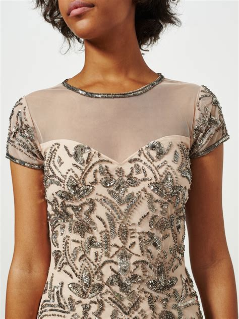 Miss Selfridge Embelished Dress miss selfridge fleur embellished bodycon dress in