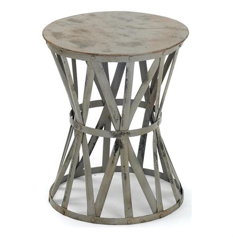 Drum Side Table Romy Painted Distressed Gray Industrial Iron Drum Side Table Kathy Kuo Home