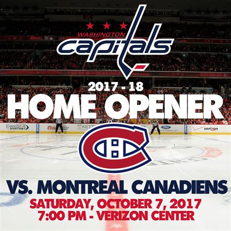 capitals announce home opener for 2017 18 season caps