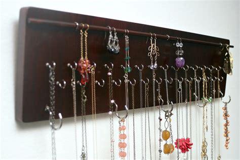 wall mounted jewelry organizer mahogany wood finish