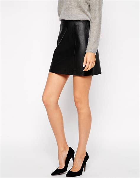 image 4 of warehouse a line leather pencil skirt