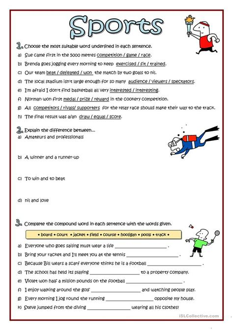 Sports Vocabulary Worksheet by Sports Vocabulary Worksheet Free Esl Printable