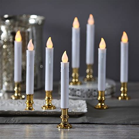 christmas window candles remote set of 8 flameless plastic white taper candles with gold removable candleholders and remote