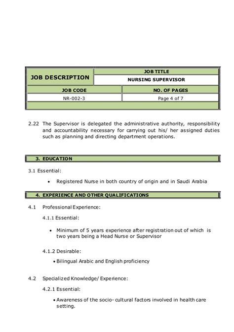 Nursing Supervisor Description by Nursing Supervisor Description