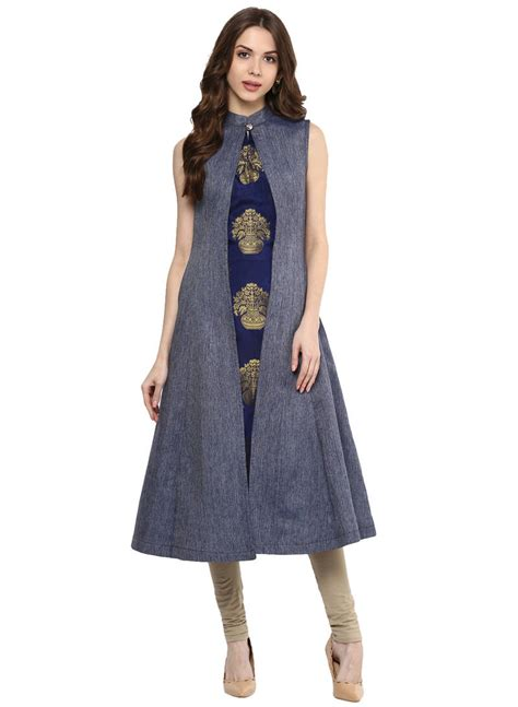 design house kurta online buy blue solid denim party wear kurti online