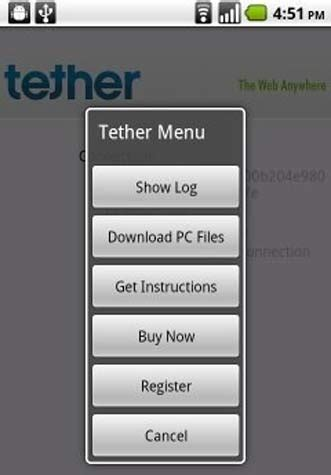 tethering app for android tether for the android 1 5 and above tether for android techhail