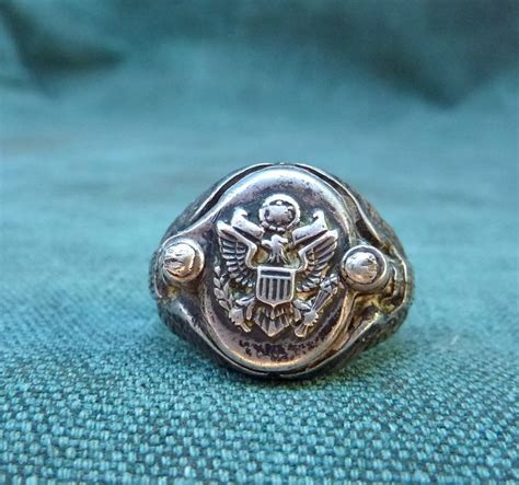Cincin Silver Italy vintage wwii army eagle secret compartment mens ring sterling silver vintage