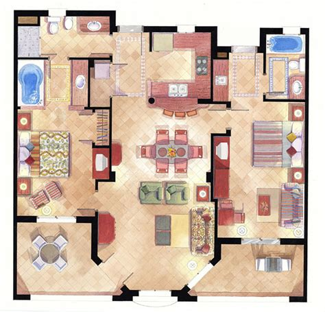 layout plan rendering floor plans and elevations architectural illustration