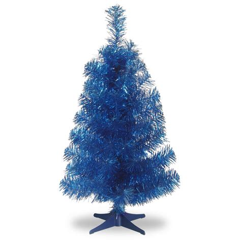 national tree company 3 ft blue tinsel artificial