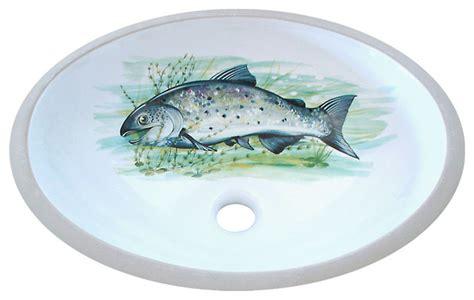 Big Fish Bathtub by Big Fish Painted Sink Rustic Bathroom Sinks By