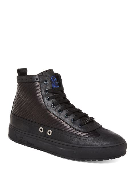 galliano sneakers galliano quilted high top sneakers in black for