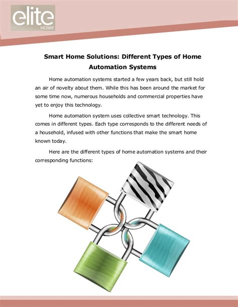 smart home solutions different types of home automation