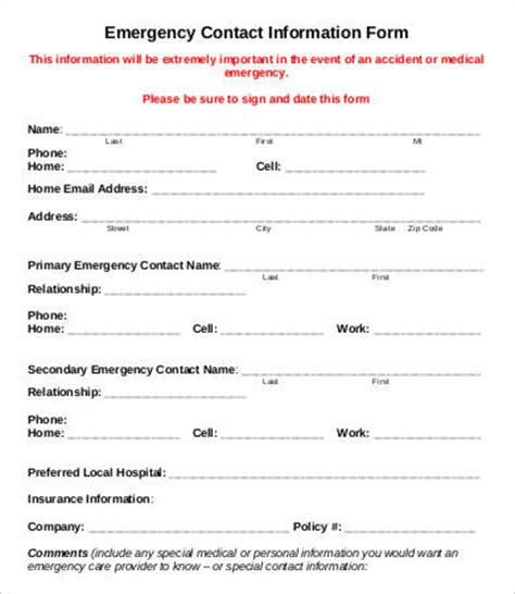 11 emergency contact forms pdf doc free premium