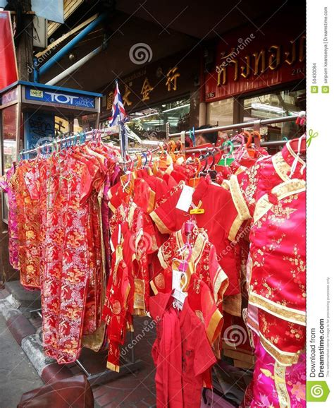 shopping for new year clothes clothing shop at chinatown bangkok thailand
