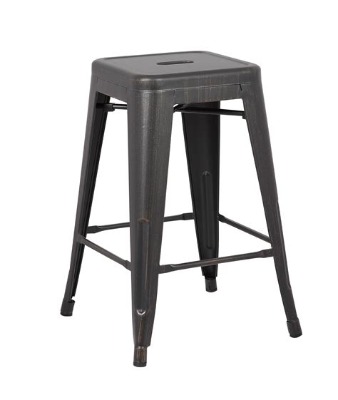 Distressed Metal Bar Stools by Backless Industrial Metal Bar Stools Distressed Black