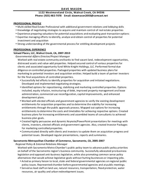 Resume Real Estate Project Manager Dave Resume Real Estate 6 19 11