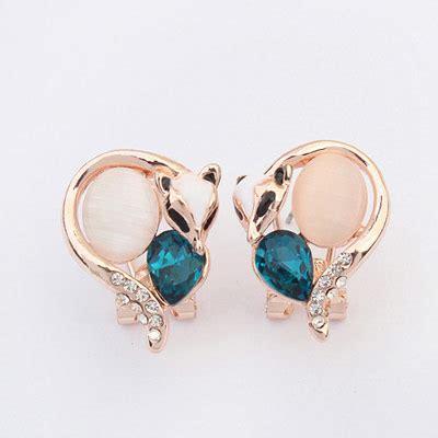 Anting Korea Tassel Earrings Jlr025 boutique blue decorated fox shape design alloy stud earrings asujewelry