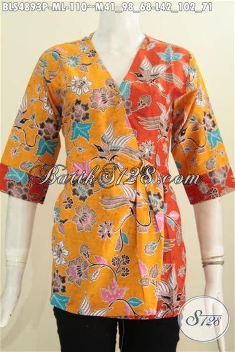 Kimono Santai Wanita Dan Pria blus batik kuning kombinasi orange pakaian batik modis