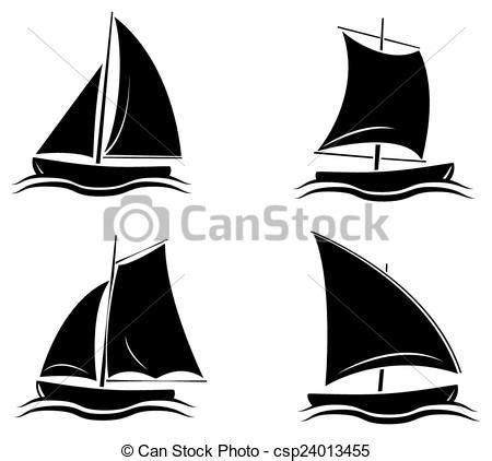 dessin bateau silhouette vecteur clipart de noir silhouette collection bateau