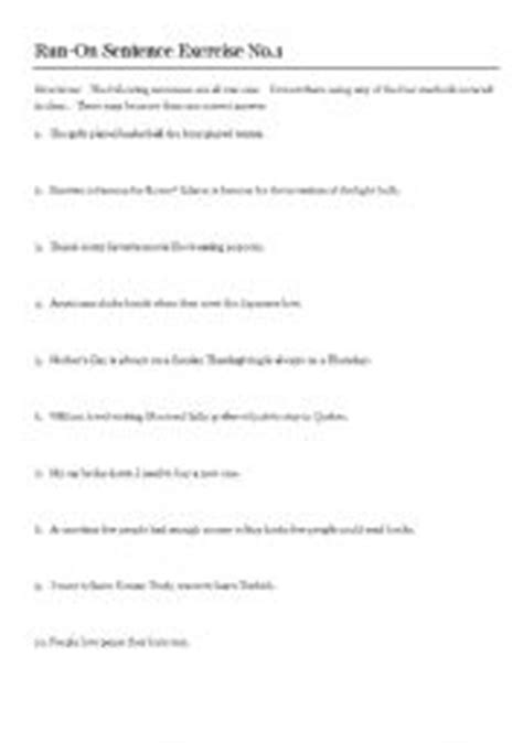 Run On Sentence Worksheet Answers by Worksheets Run On Sentences Key